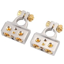 FULL-2PCS 0/4/8/10 Gauge AWG Mobil Terminal Konektor dengan Spacer Shims, positif Negatif Chrome Terminal Baterai(China)