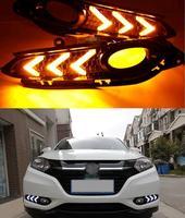 Gündüz farları hareketli ışık fonksiyonlu sarı dönme sinyali ışıkları sis lambası kapağı Honda için HR V 2014 2015 2016 HRV Vezel Krom Şekillendirici    -