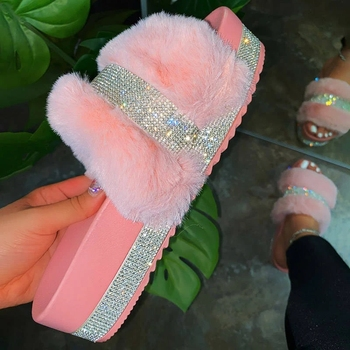 2020 Bling Women's Plush Slippers Fur Slides Rhinestones Outdoor Flat Female Platform Sandals Stylish Casual Shoes Plus Size 43 image