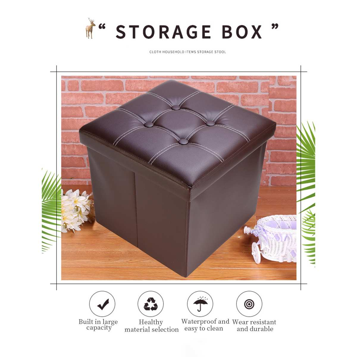 eSituro Ottoman Storage Square Chest Padded Footstool Linen Foldable Pouffe Chair Beige Bed End Bench Shoe Bench Children Toy Box Stool Milking Stool