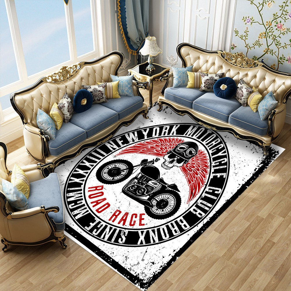 3D Anti-slip Carpets Floor Mats Living Room Skull Motorcycle Carpet Doormat Bedroom Modern Area Rugs Outdoor Indoor Table Rugs