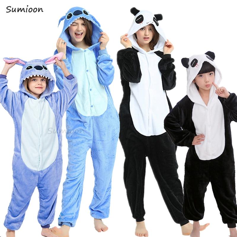 Kugurumi Children Warm Winter Sleepwear Kids Unicorn Panda Pajama Baby Girls Boys Stitch Pajamas Onesies Hoodied Sleeper Clothes