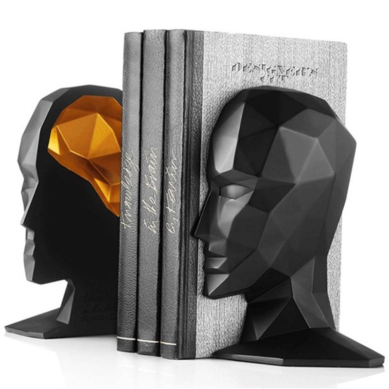 أنيقة الأوروبية دراسة عالية الجودة مكتب زينة الراتنج الحرف الإنسان الوجه الدماغ الدفتين أفضل هدية ، شحن مجاني-في التماثيل والمنمنمات من المنزل والحديقة على  مجموعة 1