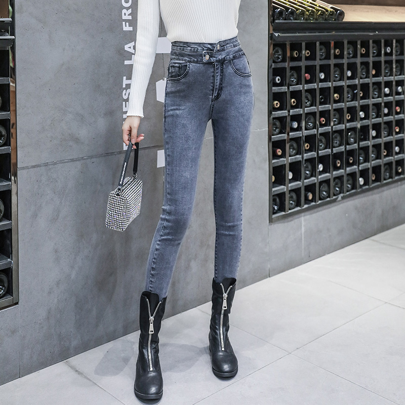 New Woman Jeans High Elastic Show Slim Skinny Jeans For Woman Gray High Waist Denim Pencil Pants Autumn Spring 2020