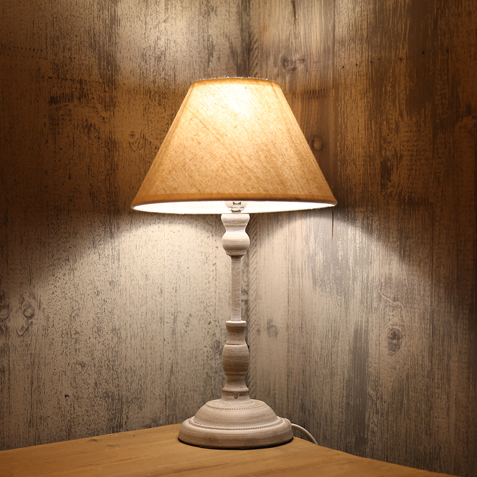 OYGROUP Small Table Lamp E14 Fabric Lampshade Iron Base Home Bedside Room Lighting Desk Lamp LED Beige Bar