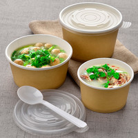 50pcs Kraft paper thick food snack yogurt pudding bread packaging cups cake dessert takeaway paper cup with cover