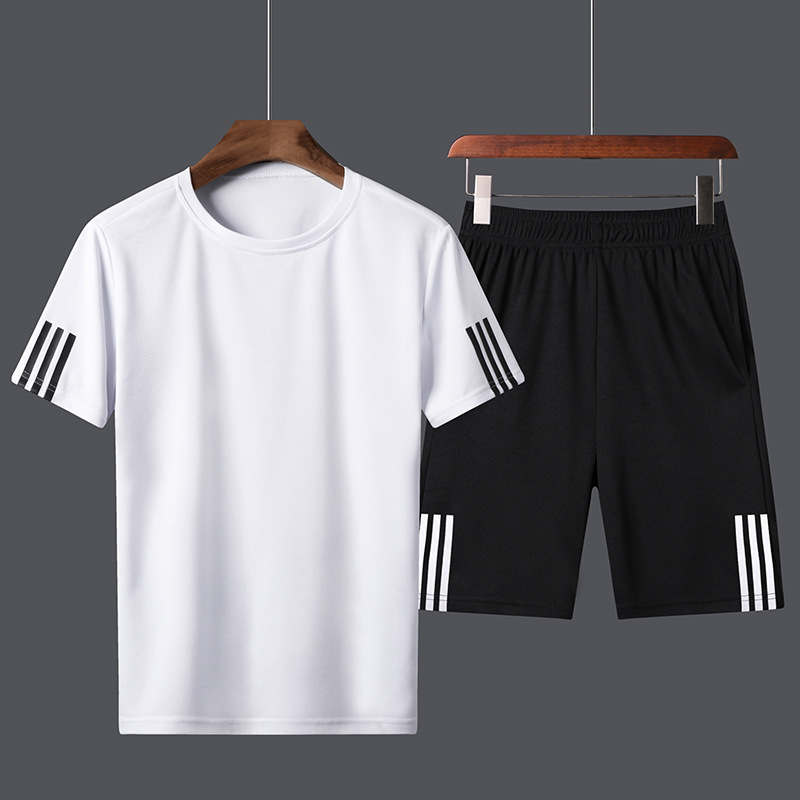 Sports Set Men's Summer Casual Sportswear Thin Breathable Large Size Loose-Fit Men Short-sleeve Jogging Suit Two-Piece Set