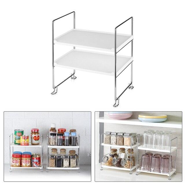 2 Tier Regal Freistehende Stapelbar Küche Regal Spice Organizer Home Storage Rack Bad Veranstalter Küche Lagerung Regal