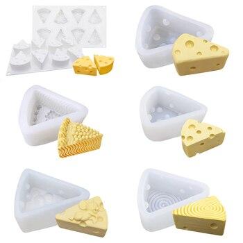 Molde de pastel en forma de queso para hornear el postre anillo de arte de la espuma de silicona 3D molde Silikonowe mouse Pan herramientas de pastelería molde de helado