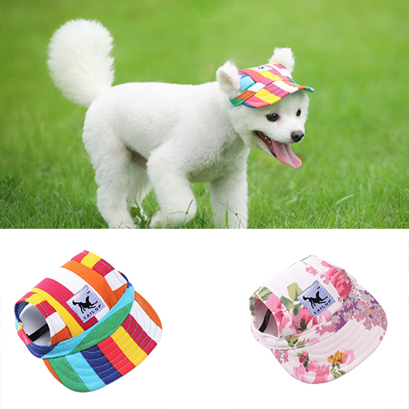 Adjustable Summer Cooling Pet Dog Caps With Ear Hole Outdoor Puppy Baseball Caps For Small Medium Dogs Pet Accessories