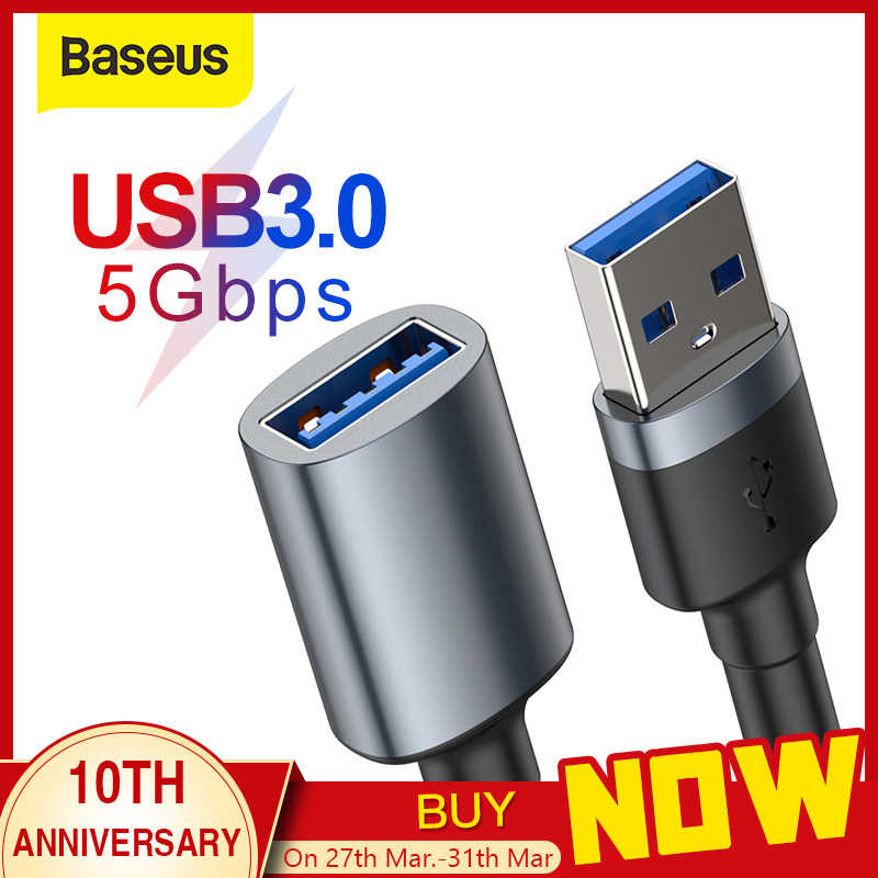 Baseus Cable de extensión USB Cable USB 3,0 a USB 3,0 Cable Micro USB OTG para Smart TV PS4 HDD USB 3,0 macho a hembra datos Cale