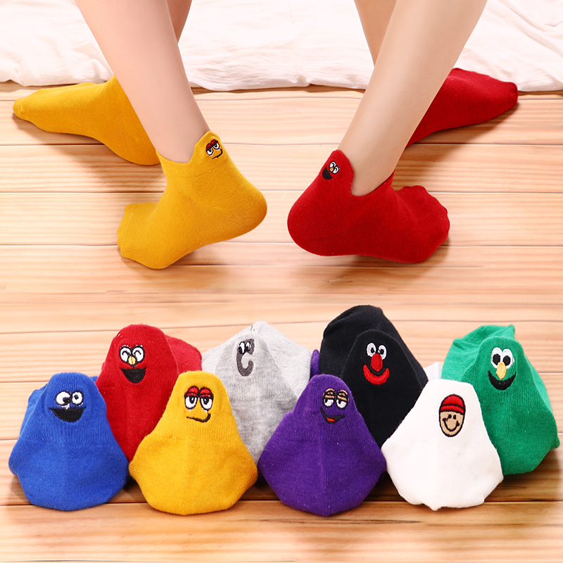 Size 35-42 Kawaii Women   Socks   Fashion Ankle Funny   Socks   Women Cotton Embroidered Expression Candy Color 4 Pairs