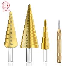 цена на 4-12mm 4-20mm 4-32mm HSS 4241 Steel Large Step Cone Titanium Coated Metal Drill Bit Cut Tool Set Hole Cutter