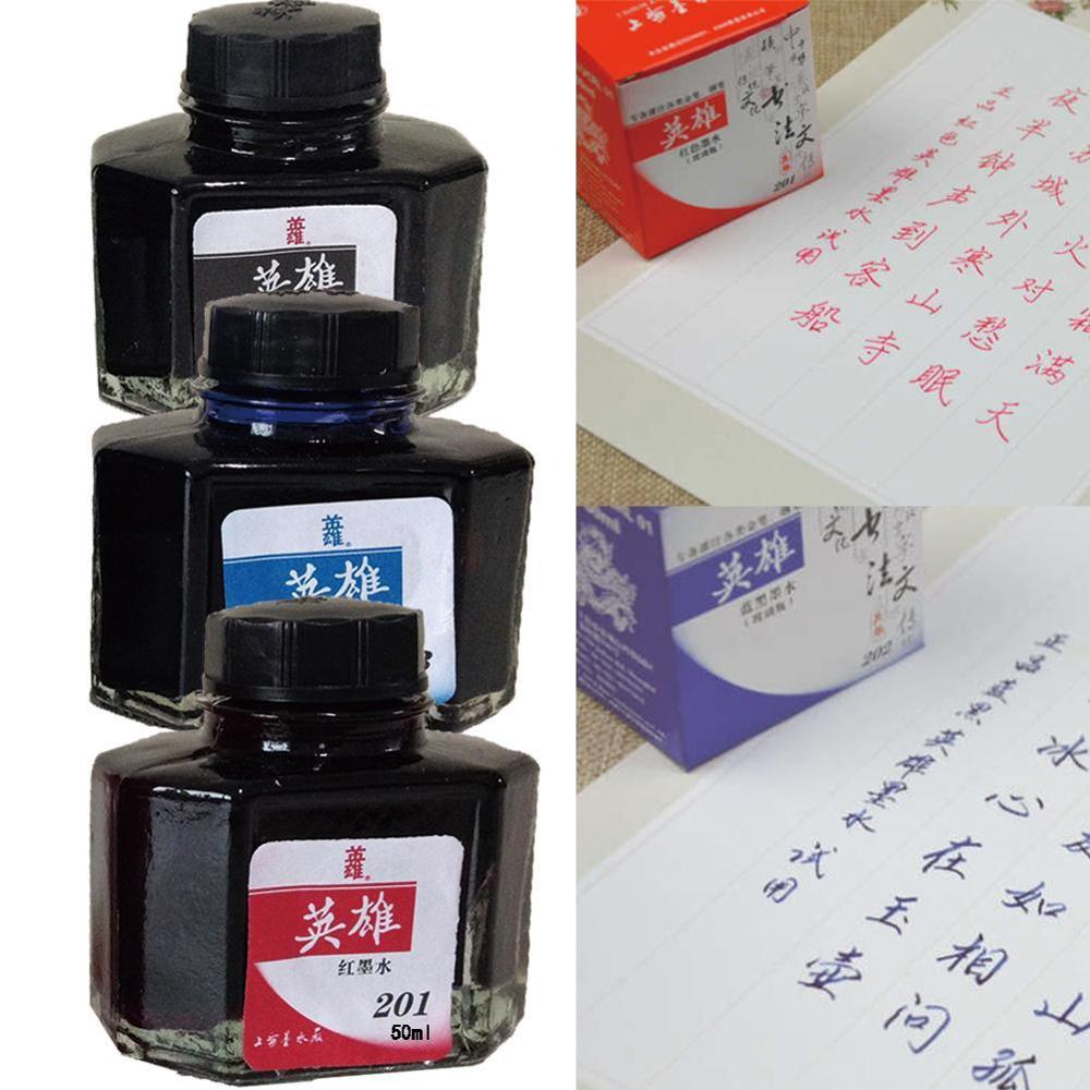 50ml Bottled Glass Smooth Writing Fountain Pen Ink Refill School Student Stationery Office Supplies Red Blue Black Ink