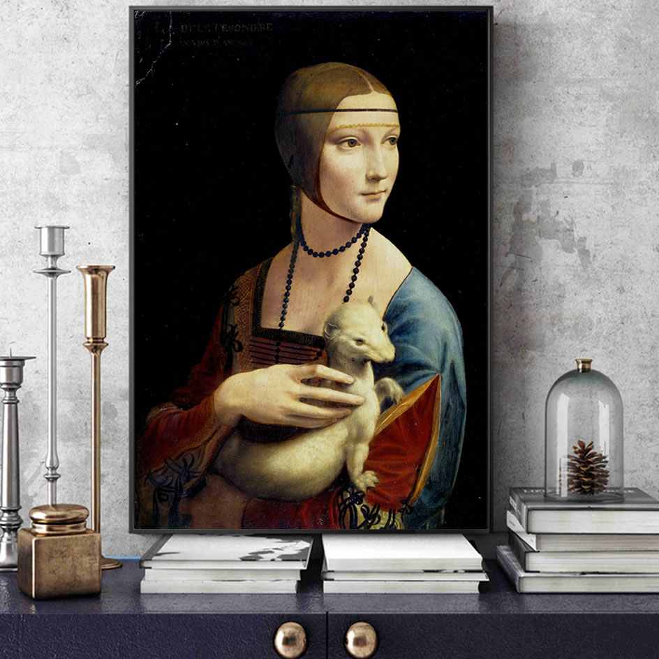 The Lady With An Ermine Canvas Art Paintings Reproductions On The Wall By Leonardo Da Vinci Famous Canvas Wall Art Home Decor