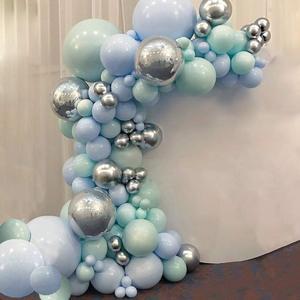 Macaron Blue Mint Pastel Balloons Garland Arch Kit Sliver 101pcs DIY Birthday Wedding Baby Shower New Year Party globos Decorati(China)