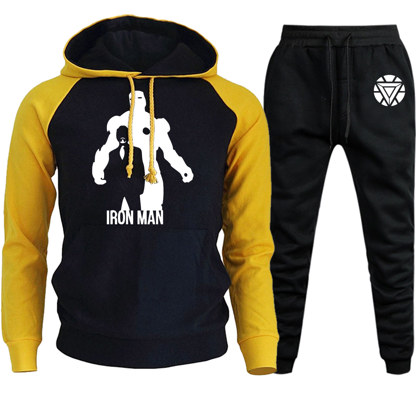 The Avengers Hooded Raglan Men Iron Man Sweatshirts Autumn Winter 2019 Suit Male Casual Pullover Fleece Hoody+Pants 2 Piece Set