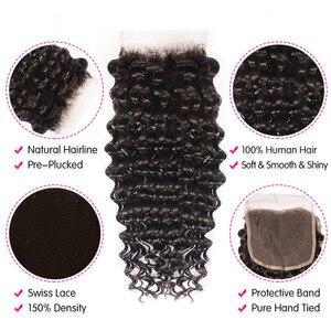 Image 4 - Unice cabelo brasileiro onda profunda fechamento do laço 10 20 Polegada parte do meio livre 4x4 laço suíço fechamento do cabelo humano remy cabelo
