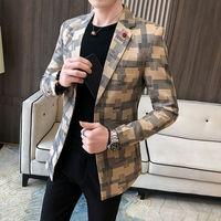 Мужской стильный клетчатый пиджак 1