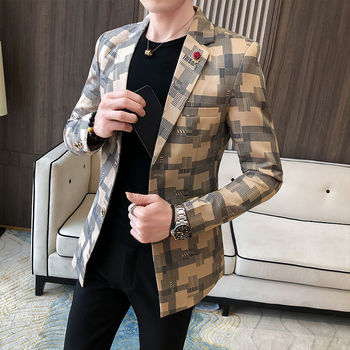 2020 Korean Plaid Suit Blazer Jacket Men Stylish Dress Prom Blazers For Men Casual Slim Club Stage Singer Suit Blusa Masculina