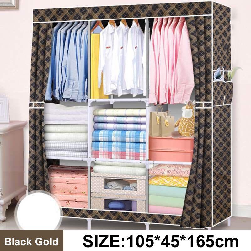 105x45x165cm armoires vêtements placard armoire Non-tissé armoire anti-poussière pliant vêtements rangement placard chambre meubles
