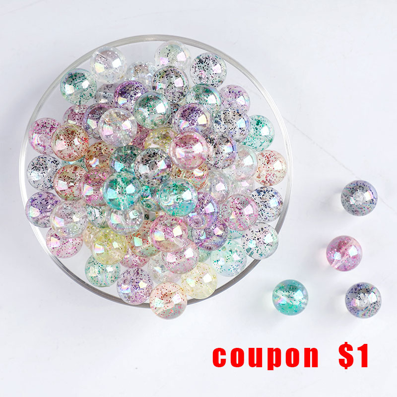 Wholesale Acrylic Beads Sequins Baby Teether 10pcs 15mm Transparent DIY Accessories Pacifier Chain PVC Free Baby Gift Let' Make