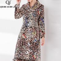 Qian Han Zi 2019 fashion coat Women Leopard Print Elegant Winter Warm Vintage Crystal Diamonds Luxury Midi Jacket Woolen coat