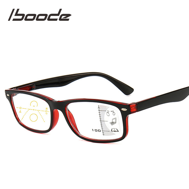 Iboode Multifocal Progressive Blue Light Blocking Reading Glasses For Women Men Retro Anti Blue Rays Presbyopic Glasses Diopters