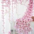 2,3 м цветочная гирлянда, искусственные цветы, струна с листьями, шелковая Сакура, цветение вишни, плющ, лоза для дома, сада, Свадебный декор