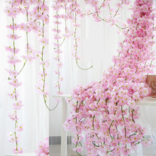 2.3m Flower Garland Artificial Flower String With Leaves Silk Sakura Cherry Blossom Ivy Vine For Home Garden Wedding Arch Decor