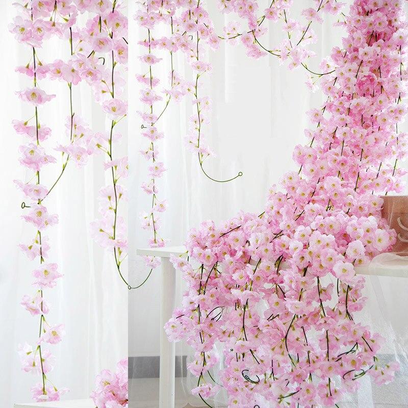 2.3m girlanda z kwiatów sztuczny kwiat ciąg z liśćmi jedwabiu Sakura Cherry Blossom stroik z bluszczu dla domu ogród łuk ślubny wystrój