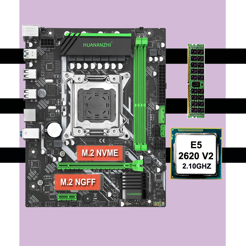 Famous brand motherboard on sale HUANANZHI X79 LGA2011 motherboard with CPU Intel <font><b>xeon</b></font> <font><b>E5</b></font> <font><b>2620</b></font> <font><b>V2</b></font> RAM 8G DDR3 1600 REG ECC image