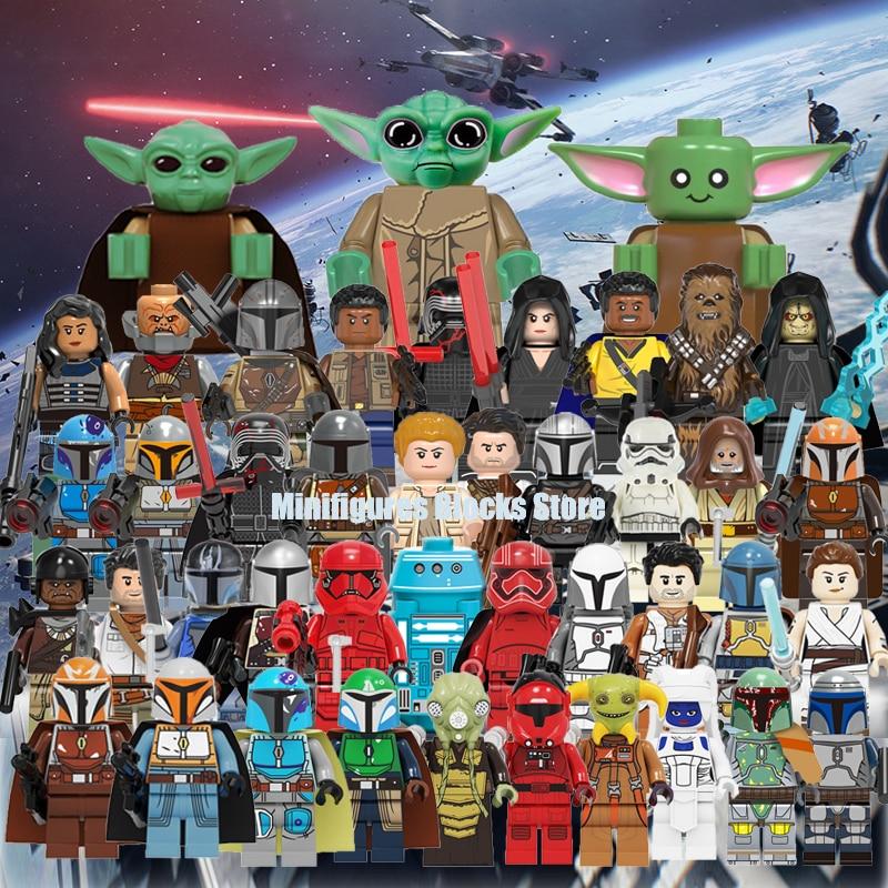 Baby Yoda  Building Blocks Bricks Technic Starw Rey PoE Dameron Mandalorian Jango Fett Drabatan Figures Gift Toys For Children