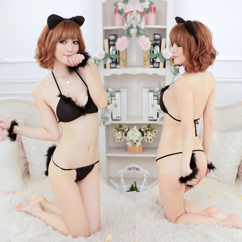 Katze Cosplay Erotic Lingerie Costumes Sexy Cat Uniform Halter Lingerie Bra + Underwear + Hairband + Bracelet