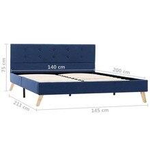 Cadre de lit Bleu en Tissu, 140x200 cm