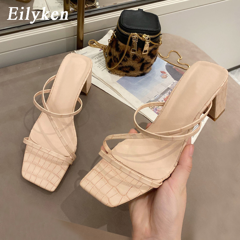 Eilyken 2020 New Women Fashion Slipper Square High Heel Classics Strap Sandal Ladies Elegant New Summer Bohemian Pumps Slides
