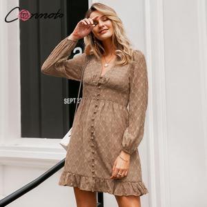 Image 4 - Conmoto Vintage Winter Elegant Dress Women Chiffon Button Ladies Dress Retro Short Ruffles V Neck Party Dresses Vestidos