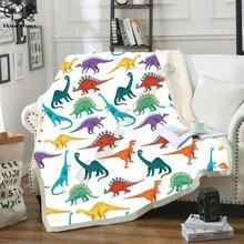 Флисовое одеяло с динозаврами 3d полностью напечатанное переносное