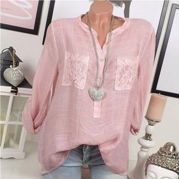 Solid Lace Pocket Blouse Women Long Sleeve Casual Shirt Vintage Loose Tops V-neck Blouses Plus Size summer v neck long sleeve blouse women casual v neck solid color tops loose button blouse shirt