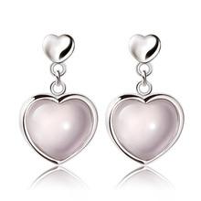 ModaOne 925 Sterling Silver Earrings Natural Hibiscus Stone Pink Crystal Heart Dangle Earrings For Women oorbellen kjjeaxcmy boutique jewels 925 pure silver inlaid natural hibiscus stone earrings ring set
