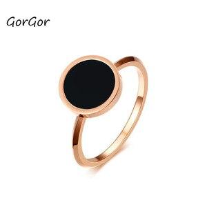 Женское кольцо GorGor, титановая сталь, розовое золото, эмаль, круглый узор, простота, изысканные модные аксессуары, R-344R