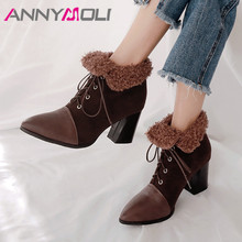 ANNYMOLI Winter Ankle Boots Women Boots Fashion Thick High Heel Short Boots Lace Up Pointed Toe Shoes Lady Autumn Plus Size 3-12 ladies sexy pointed toe blue denim lace up short boots super high heel jean ankle booties street fashion boots