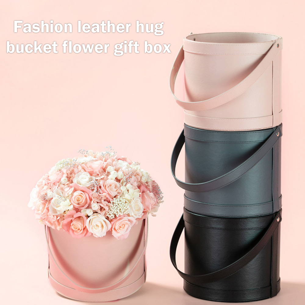 Ins Runde Leder Blumen Geschenk Verpackung Boxen Hochzeit Party Home Storage Display Dekor Box Floristen Blume Anordnung Hut Boxen