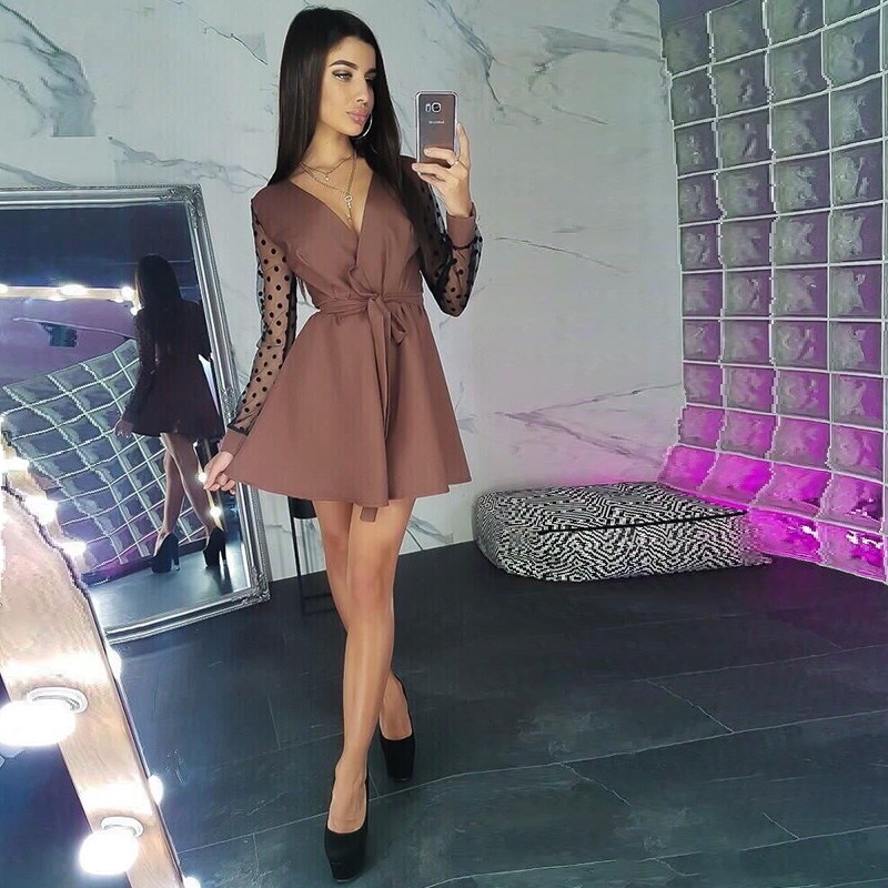 Women Dot Lace Patchwork Sashes A-line Dress  Sexy V Neck Long Sleeve Elegant Dress 2019 Autumn Fashion Solid Casual Women Dress