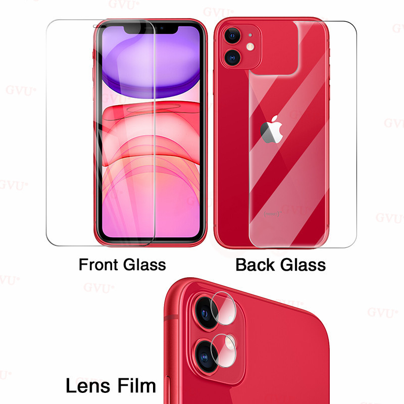 9H Front+Rear Back+Lens Camera Film On For IPhone 11 Pro Max 2019 X XR XS MAX Full Body Tempered Protector Glass For IPhone 11