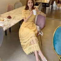 2019 Women Elegant Yellow Lace Dress Summer Sexy Hollow Out Midi Dress Clothes Casual Female Vintage Party Dress