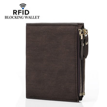 New Men Wallet Brand Leather Double Zipper Design Fashion Small Male RFID BLOCKING Short Card Holder Coin Purse