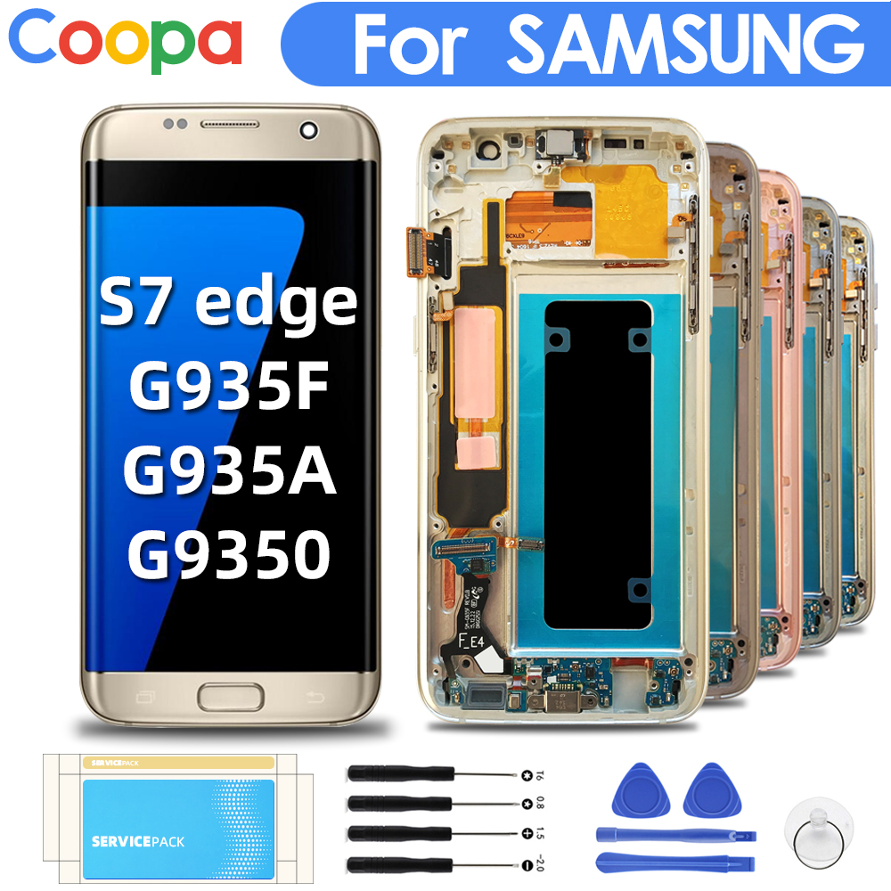 5.5''Original Super AMOLED Replacement For <font><b>Samsung</b></font> <font><b>Galaxy</b></font> <font><b>S7</b></font> Edge G935F G935A G935O <font><b>LCD</b></font> Digitizer Touch Screen <font><b>With</b></font> <font><b>Frame</b></font> Screen image