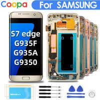 5,5 ''original Super amuled reemplazo para Samsung Galaxy S7 Edge G935F G935A G9350 LCD pantalla táctil digitalizador con marco de pantalla