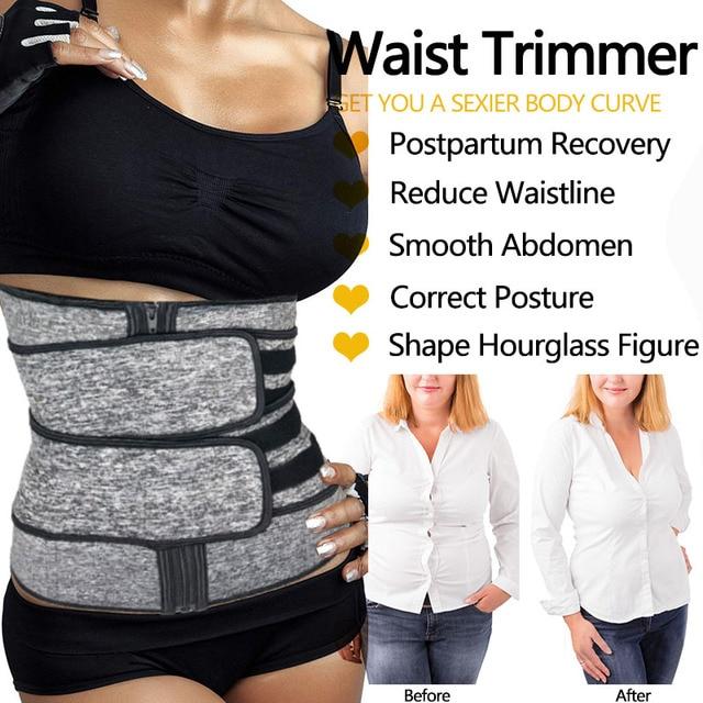 Neoprene Sweat Sauna Waist Trimmer Belt Abdominal Trainer Corset Fat Burner Sport Girdles Tummy Body Shaper Postpartum Recovery 2